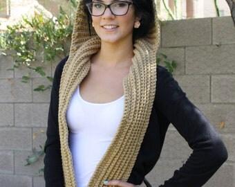 Caramel hooded crocheted scarf