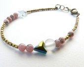 Pastel Tribal triangle pink and gold bracelet ( rhodocrosite, brass, rainbow, french, wild, cheyenne, southwest, one of a kind ) 02