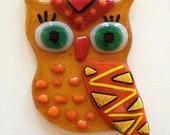 Fused Glass Owl with Hanger - Ms. Orange Dot