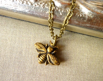 Bee Necklace - Gold Bee Charm necklace - Honey Bee - Queen Bee