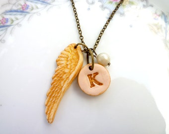 Angel Wing and Letter Necklace