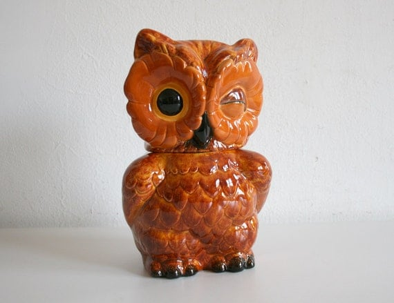 RESERVED for Helen Winking Owl Cookie Jar