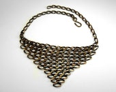 Joan of Arc 10k Gold Chainmaille Bib Collar Necklace