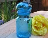 Medium Aqua Blue Canister - Apothecary Jar - Made in Belgium - Oak Hill Vintage