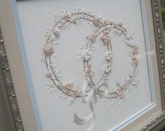 Double Wedding Ring - Professionally Framed - Wedding Decor - Oak Hill Vintage