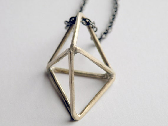 Minimalist, Geometic Triangle Prism Pendant, Handcrafted Crystal in Bronze