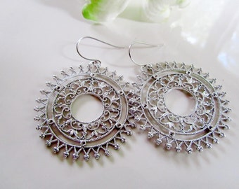 Silver Moroccan Filligree Earrings, Hoop Earrings, Mandela, Indian, Tribal, Round Disc, Bohemian, Redpeonycreations