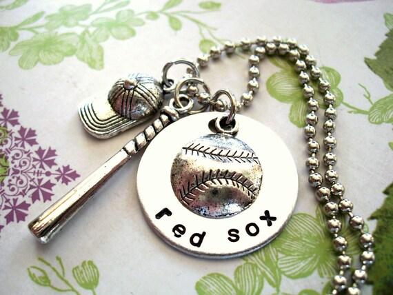 Personalized Baseball Necklace, Baseball Bat Necklace, Baseball Hat Necklace, Sports Jewelry, Hand Stamped Jewelry