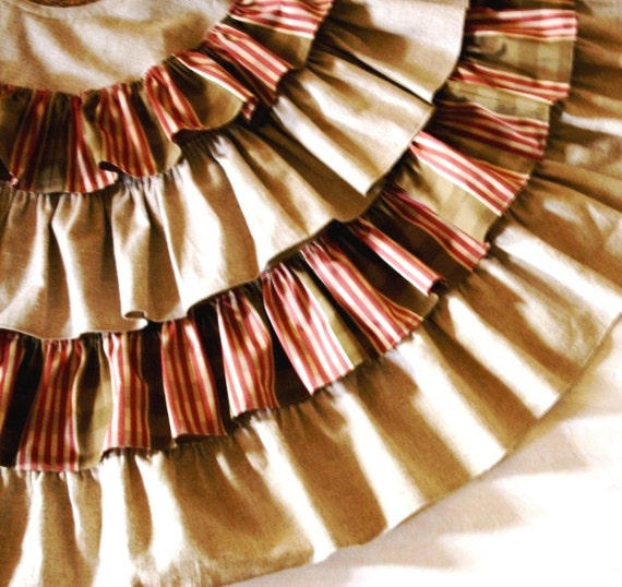 Linen Christmas Tree Skirt: Ruffled Linen Christmas Tree Skirt Candy Cane By Seasidecloth