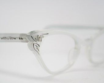 cat eye glasses Silver rhinestone vintage 1950s eyewear cateye frames