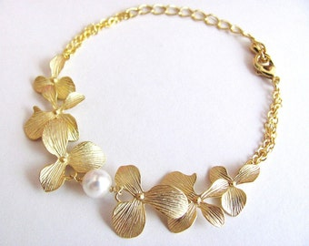 Gold Princess Style Orchid and Pearl Bracelet- elegant bridal jewelry, bridesmaids gifts, available in silver.
