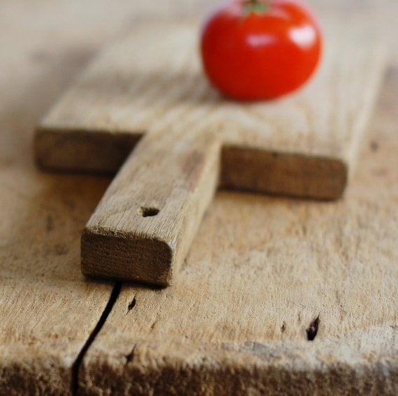 Vintage Rustic Wood Cutting Board - Thick, Hand-Cut Shape