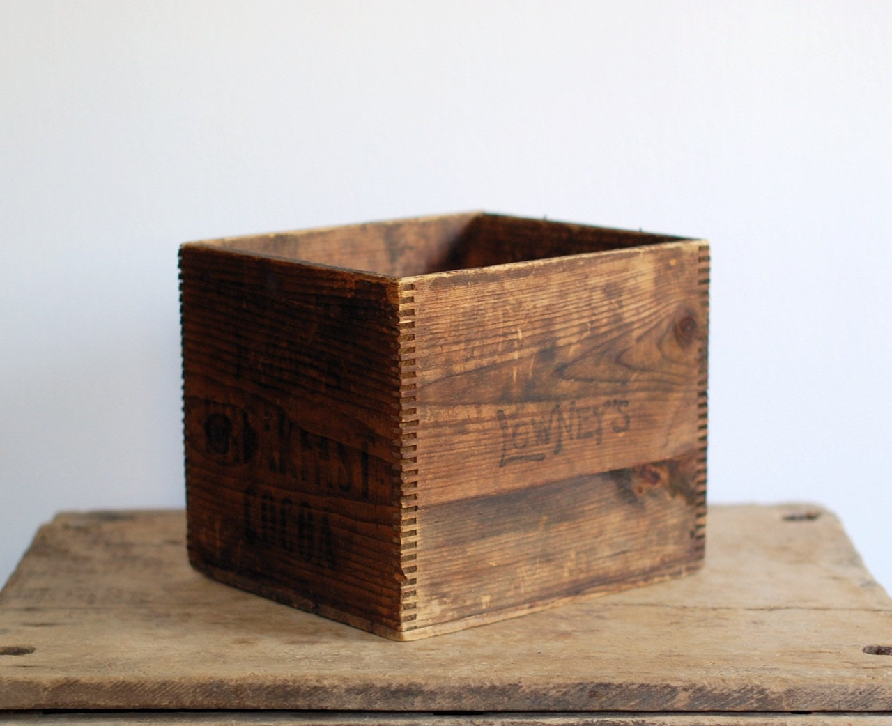 Vintage Square Wooden Box With Dovetail Corners
