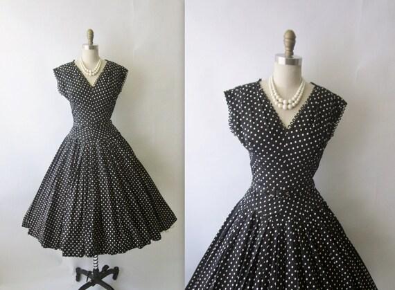 Reserved for Sarah Jane 1950's Polka Dot Dress // Vintage 1950's Black & White Polka-Dot Cotton Full Garden Party Dress XS