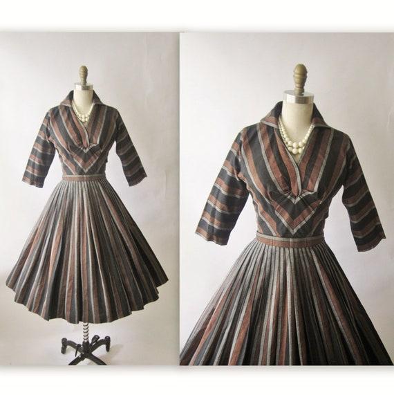 Reserved for Ali 50's Autumn Dress // Vintage 1960's Autumn Stripe Cocktail Party Shirtwaist Dress XS