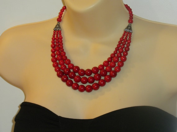 RED FIRE--statement, big, bold, chunky, multi-strand, cascade, beaded, round beads, necklace, earrings, set, handmade, gift idea