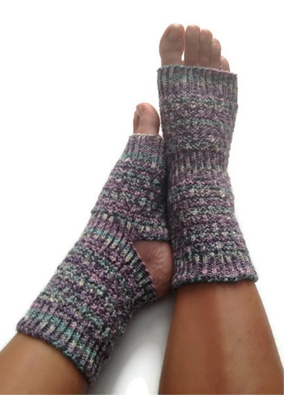 Toeless Yoga Socks Hand Knit in Blue and Purple Stripes