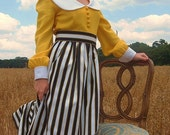 One of a Kind Vintage Jerry Marsch for Mardi Gras Maxi Dress Prairie CHIC Yellow Black and White