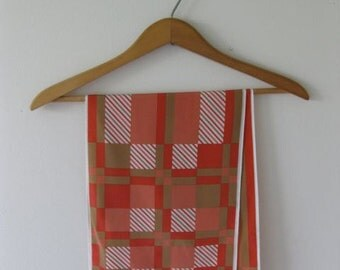 40% Off SALE - Vera Camel and Coral Geometric Scarf - Was 9/Now 5.40