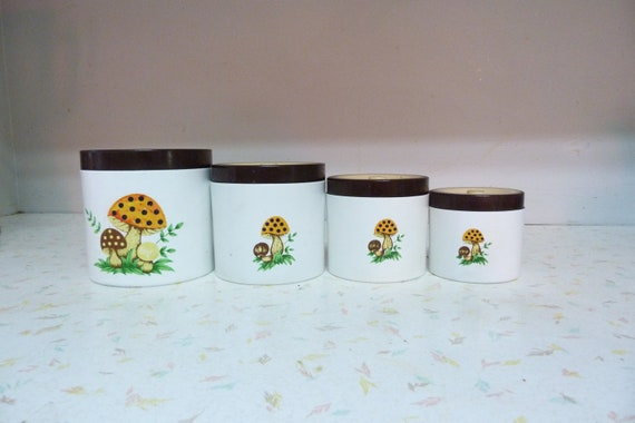 RESERVED Vintage Miniature Mushroom Canister Set Tiny Child Size