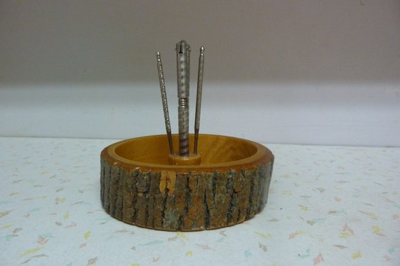 Vintage wooden nut bowl cracker and picks wooden bark nut bowl