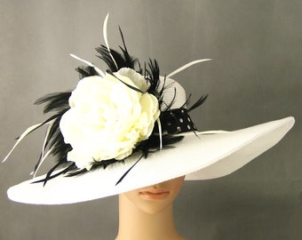 Derby Hat Dress Hat Wedding Hat Church Derby Hat Kentucky Derby Hat  Wide Brim Dress Wedding Tea Party Ascot with Feathers