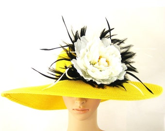 Derby Hat Tea Party Hat Wedding Hat Dress Hat Yellow Hat with Feathers Church Derby Wide Brim Hat Horse Race Ascot