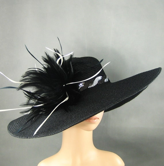 Black Derby Hat with black & white sequined Trimming,Wedding Hat ,Kentucky Derby Black Feathers Handmade Women's Dress Hat Tea Party Ascot