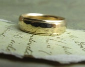 Gold Wedding Band, 14k Yellow Gold Ring, Hammered Rustic Metalwork, Comfort Fit, Engraved, Stamped... 6 x 2mm
