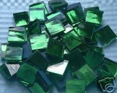 100 Green Mirror Handcut  Mosaic Glass Tiles 1/2 inch art craft hobby