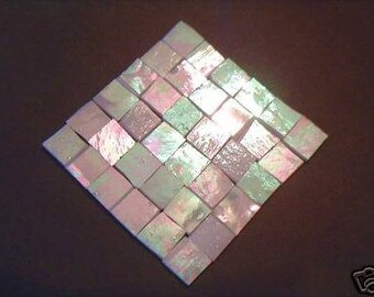 100 White  iridescent  Mosaic Stained Glass Tiles 1/2 inch handcut tile