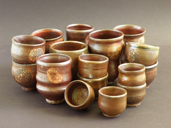 Party set of assorted handmade, wheel thrown ceramic cups
