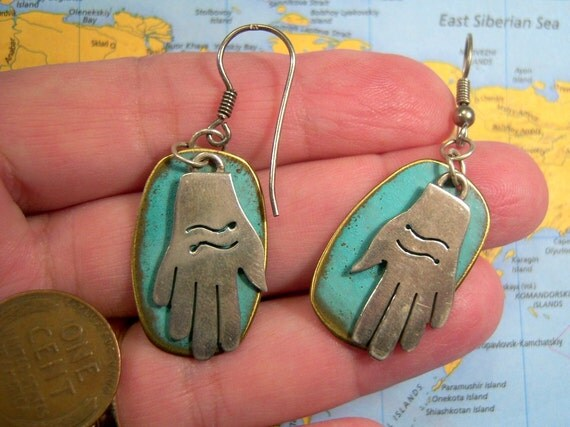 Vintage Mexican Sterling Hand Earrings
