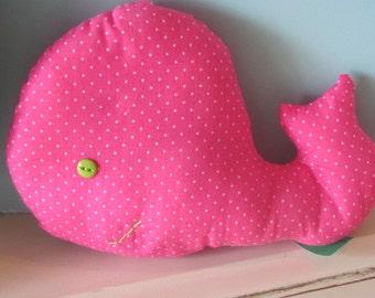 Whale pillow,whale nursery,stuffed whale,pink whale,whale decor,nautical nursery,baby girl nursery,polkadots,whale bedding,pink nursery