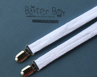 Solid White little boy matching suspenders, photo prop, baptism, christening, blessing, Easter