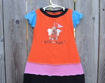 CLEARANCE Puppy and Pumpkins Trick or Treat Upcycled Dress Size 2/3