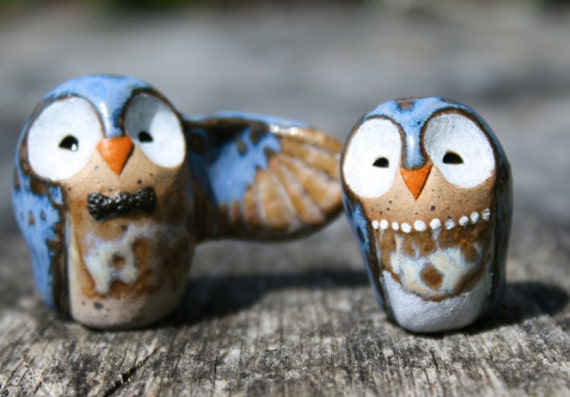 Wedding Cake Topper Blue Owls - Miniature Clay Owlery