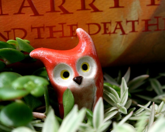 ON RESERVE for WENDY Teddy the Red Clay Owl: Harry Potter Inspired Owlery Miniatures
