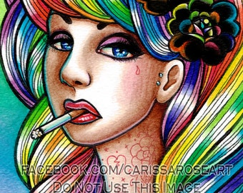 Limited Edition 5 out of 25 Apprx 11x14 in Art Print - Hard Candy - Tattooed Pin Up Girl With Rainbow Hair