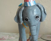 Cake Topper, Baby Circus Elephant keepsake, circus party, up to 3 accessories included. I will customize one for you your way