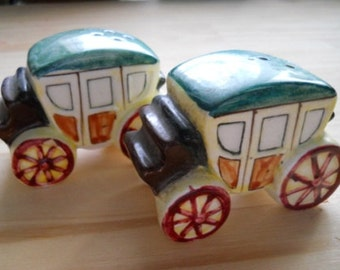 Stagecoach Salt and Pepper Shakers - Collectible, Vintage, Japan