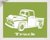 Boy's nursery art, Vintage Truck art print from Transportation Series, size 8x10, custom colors