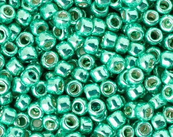 Seed Beads-11/0 Round-PF561 Permanent Finish-Galvanized Green Teal-Toho-16 Grams
