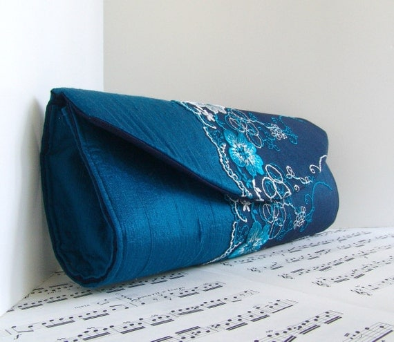 Teal blue silk clutch purse with floral lace overlay. Clutch bag. Fashion.