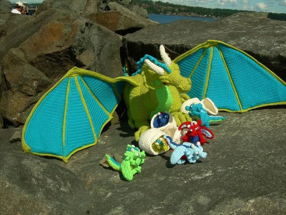Guardian the Dragon with Babies and Egg PDF Crochet Pattern by CreationsByGems