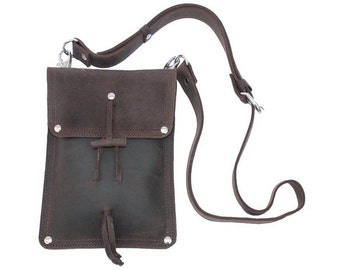 Leather Shoulder Pouch LARGE Satchel for iPad, Man Bag, Purse - Rich Chocolate Brown
