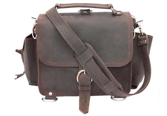 American Made Leather Satchel Messenger Bag, Purse MEDIUM - Rich Chocolate Brown