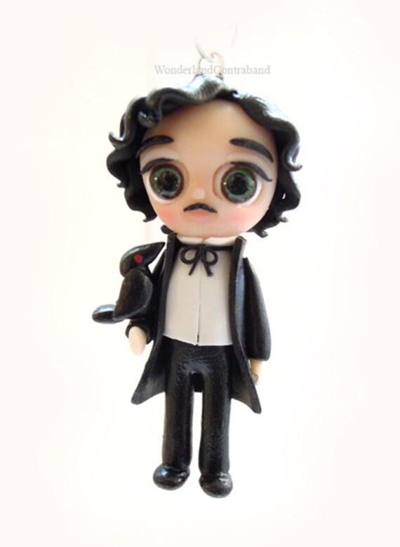 Edgar Allan Poe - Miniature Sculpture - Charm Pendant Doll Ornament