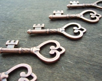 Skeleton Key Steampunk Key Heart Key Vintage Style Skeleton Key Charm Skeleton Key Pendant Antiqued Copper 1 Piece 45mm