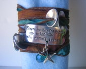 Hand Stamped - Silk Ribbon Bracelet - Eternity begins and ends with the oceans tides with charms and beads